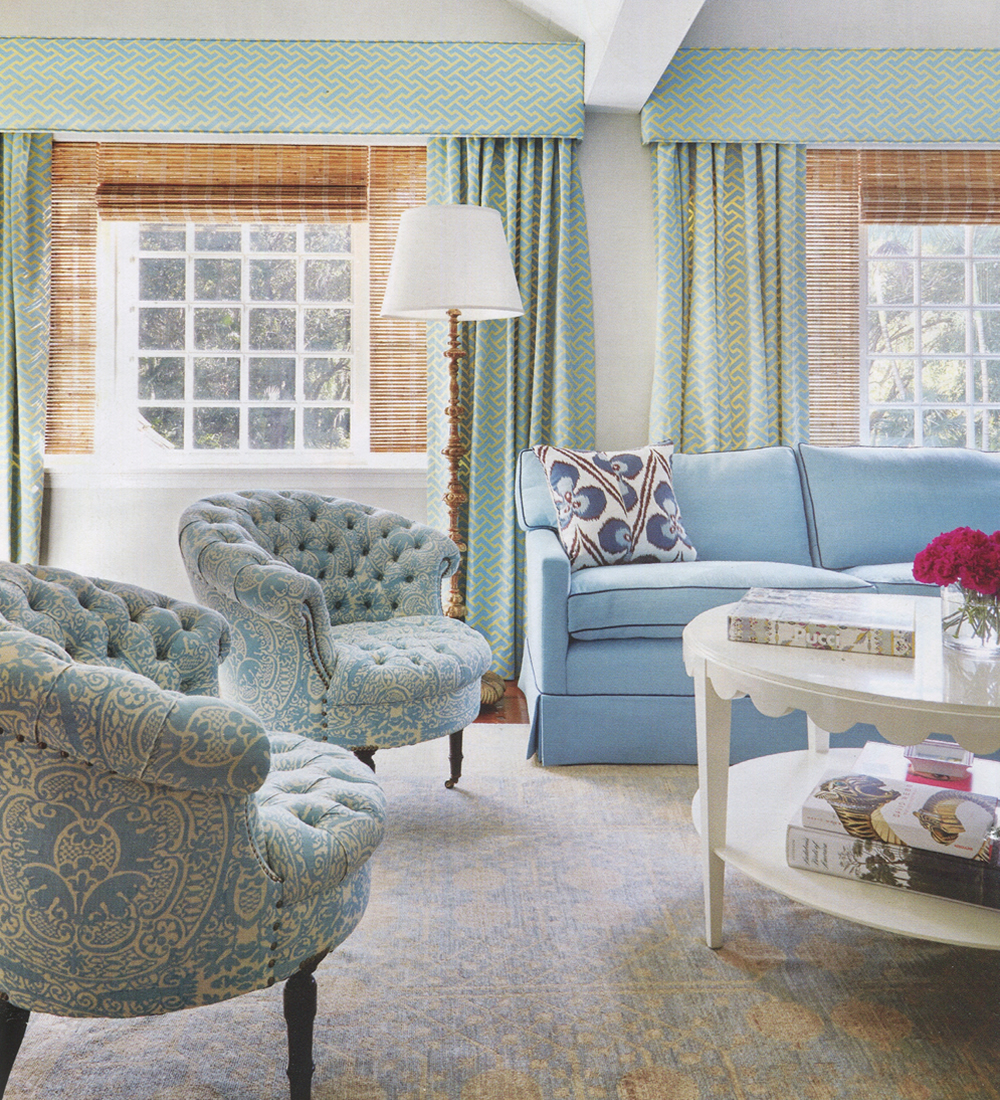 Quadrille Veneto Chairs and Edgemont sofa with China Seas Aga Reverse curtains by Peters and Mbiango in Luxe Miami