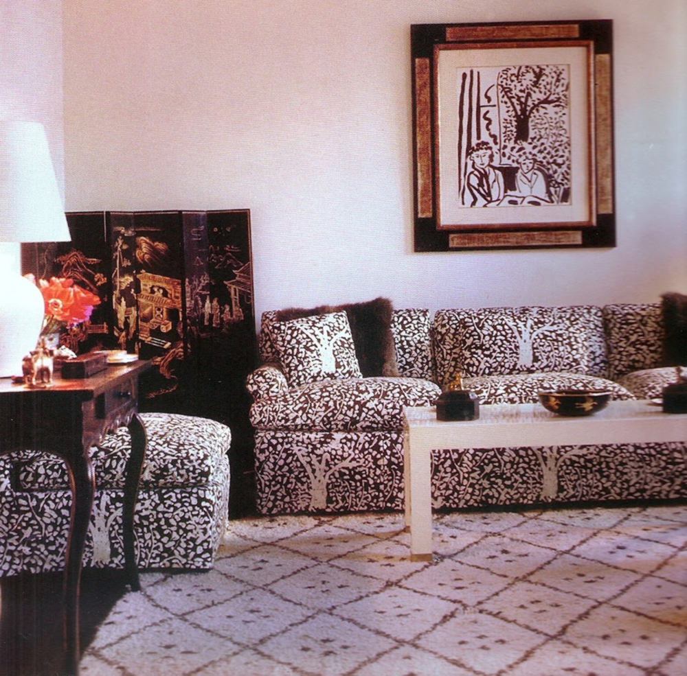 China Seas Arbre de Matisse Reverse sofa with Trilby chairs by Jonathan Berger in House Beautiful