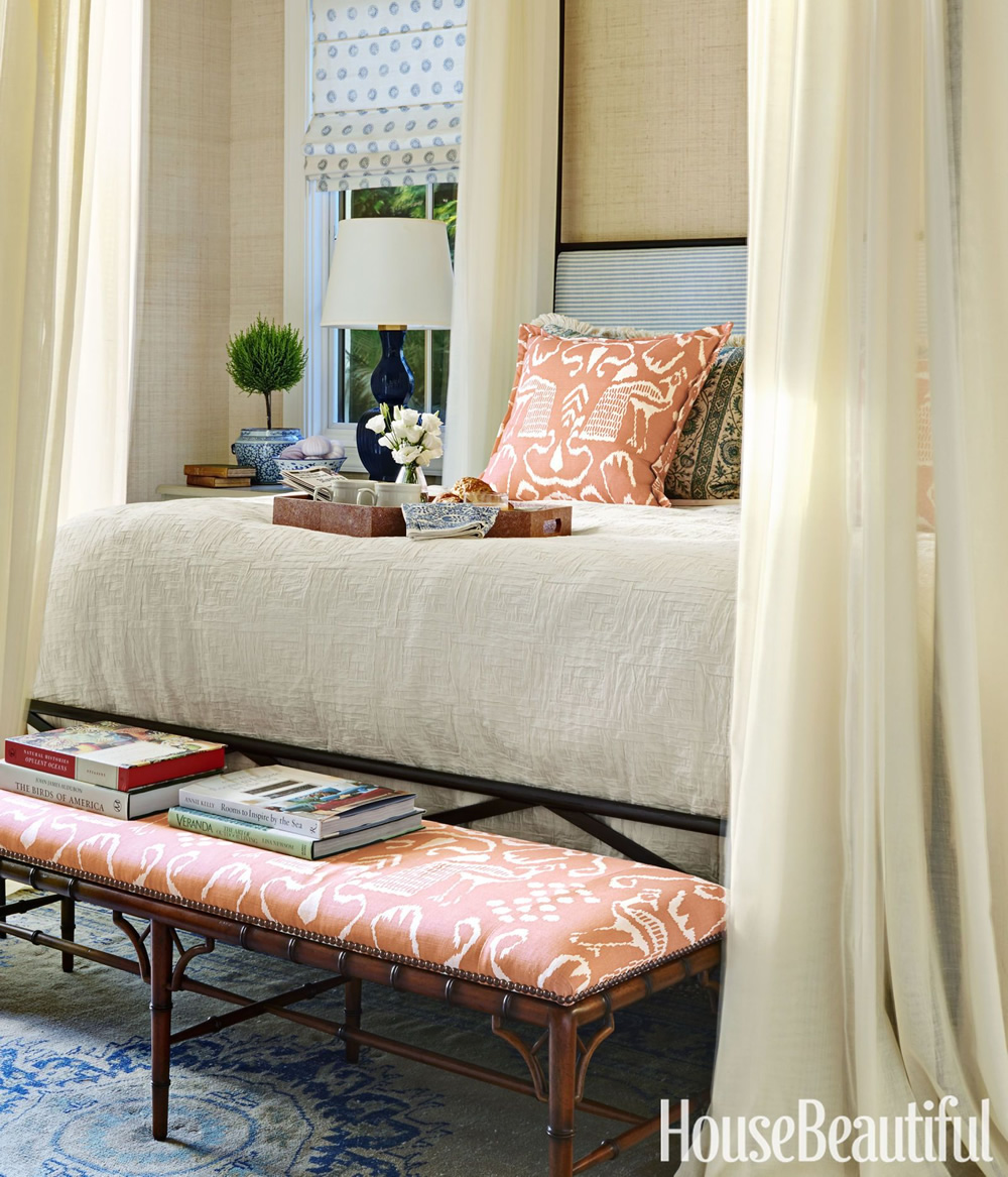 China Seas Bali II bench and pillows by Summer Thornton in House Beautiful