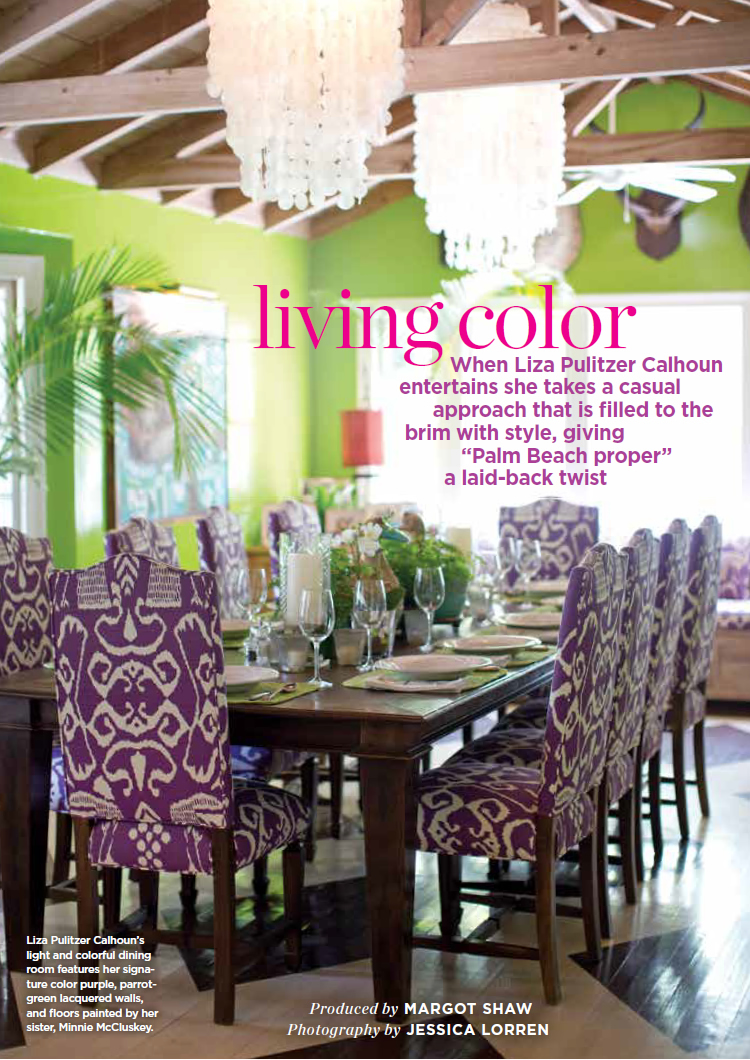 China Seas Bali II chairs in the Palm Beach home of Liza Pulitzer Calhoun