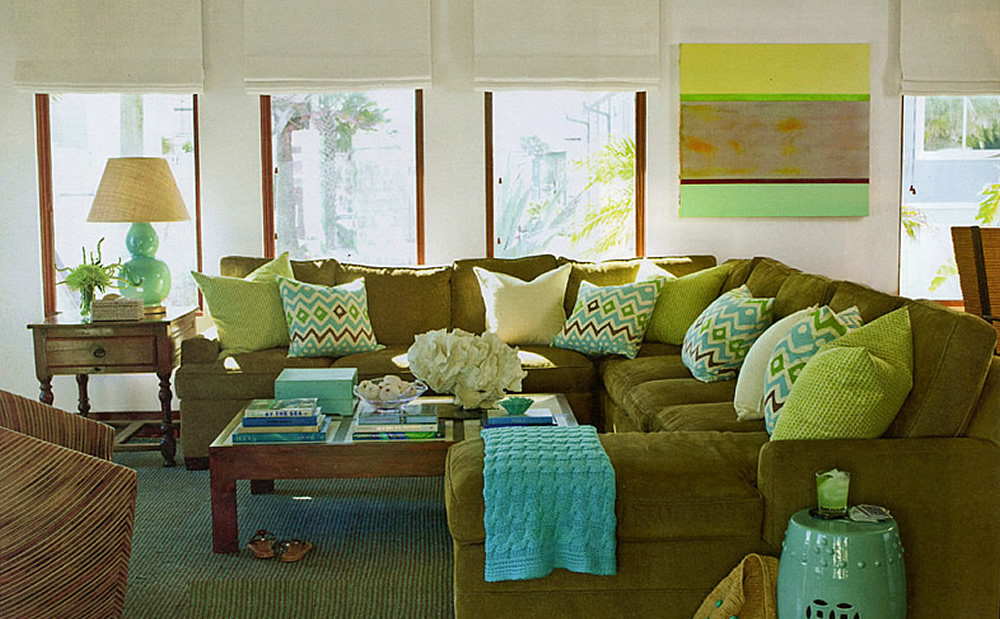 Alan Campbell Cap Ferrat pillows by Phoebe Howard in Coastal Living