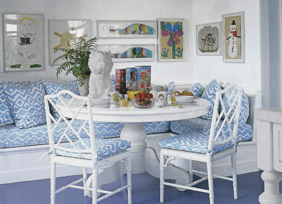 Alan Campbell Deauville chairs and pillows in the home of Aerin Lauder Elle Decor