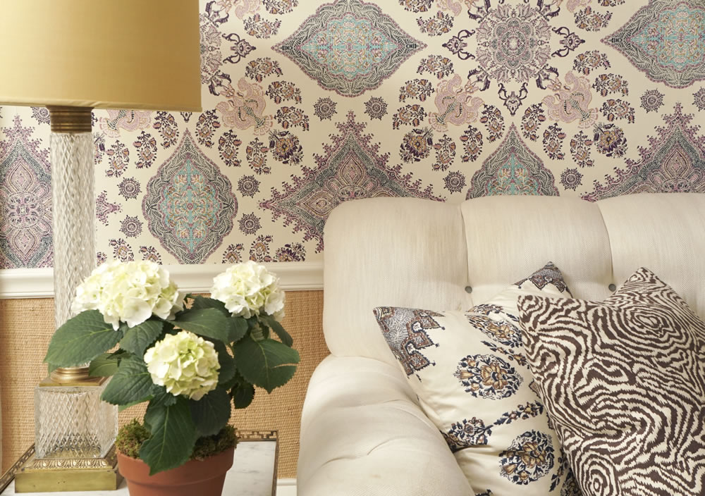 Home Couture Isfahan wallpaper with Persepolis and Meloire Reverse pillows