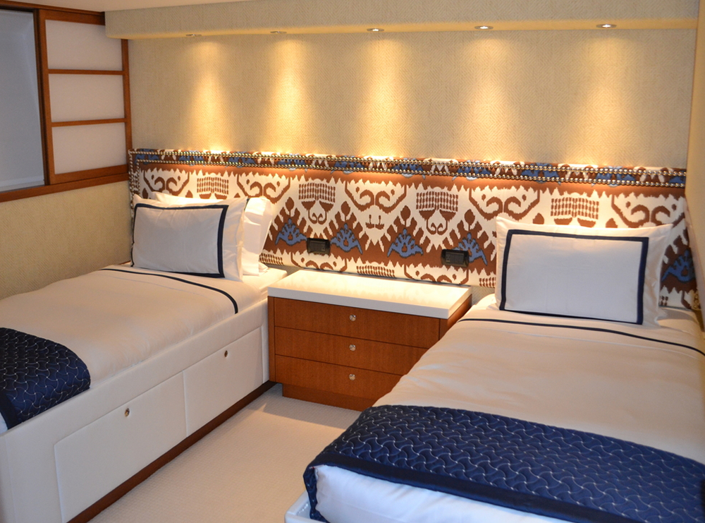 Quadrille Kazak headboard on Octopussy yacht