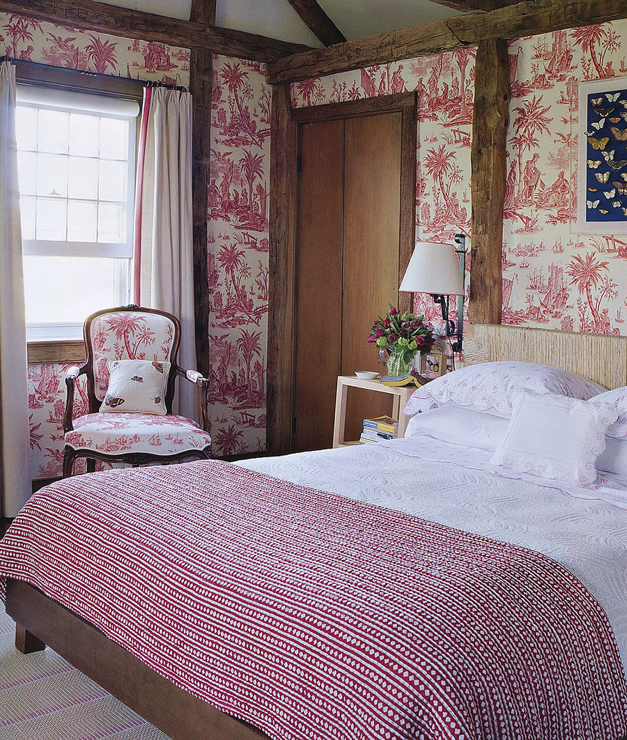 Quadrille Lafayette Toile wallpaper and chair by Tom Scheerer