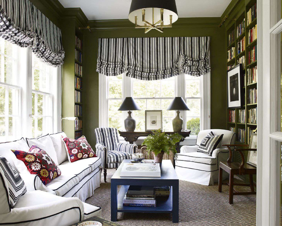 Quadrille Lane Stripe windows shades