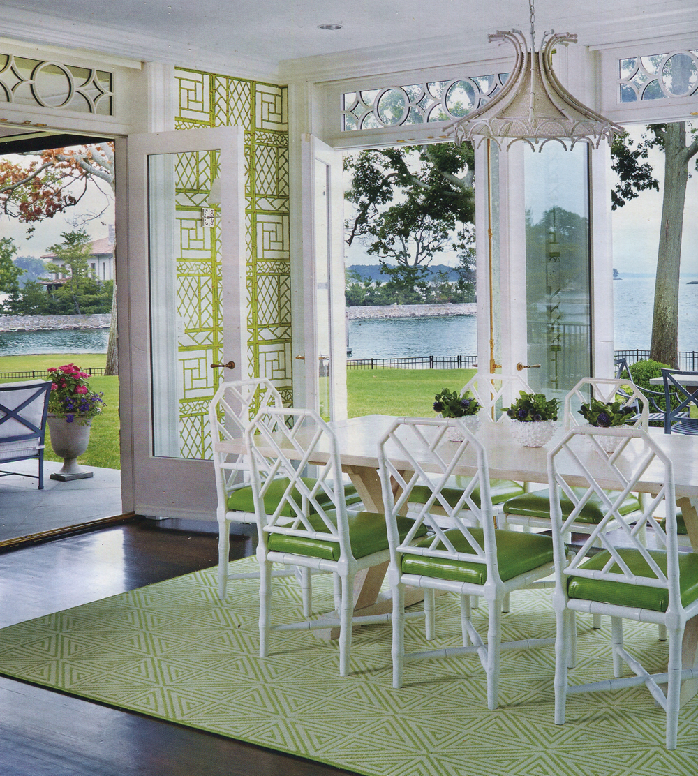 China Seas Lyford Trellis wallpaper in Connecticut Cottages and Gardens