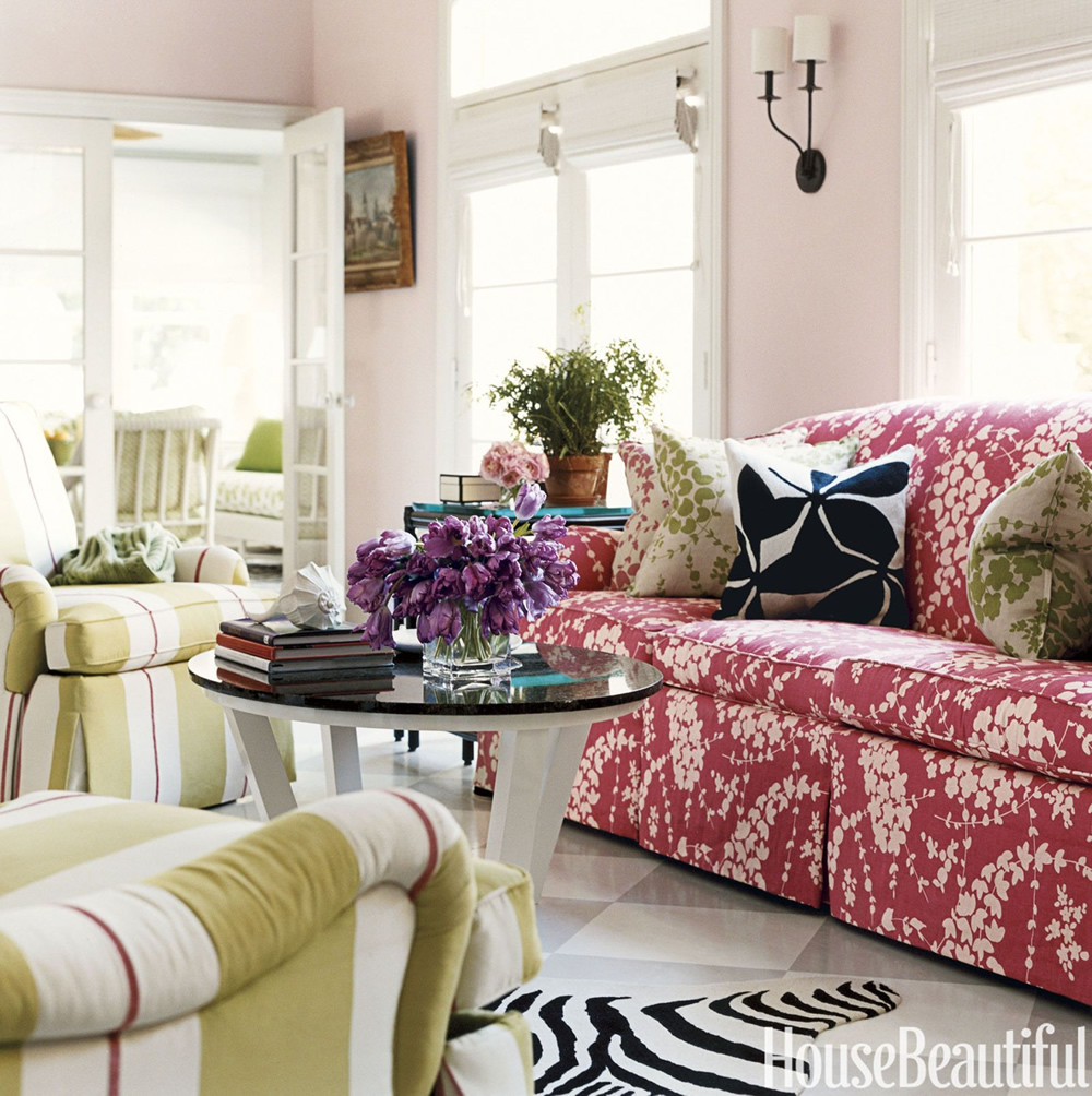China Seas Lysette Reverse sofa with Lysette pillows by Carleton Varney