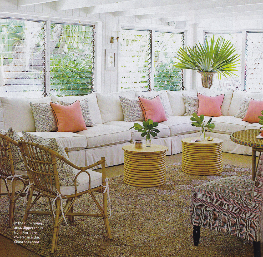 China Seas Melong Batik pillows with Petite Zig Zag chair by Amanda Lindroth in House Beautiful