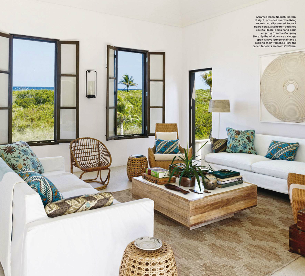 China Seas New Lotus Batik pillows by Tom Scheerer in Architectural Digest