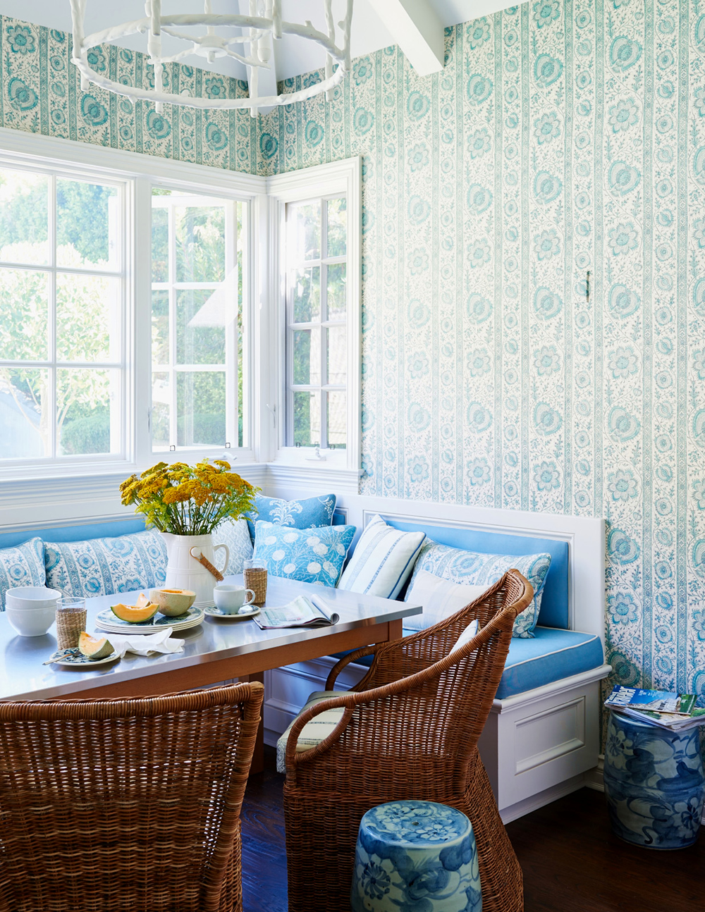 Quadrille Palampore Stripe wallpaper and pillows by Mark D Sikes