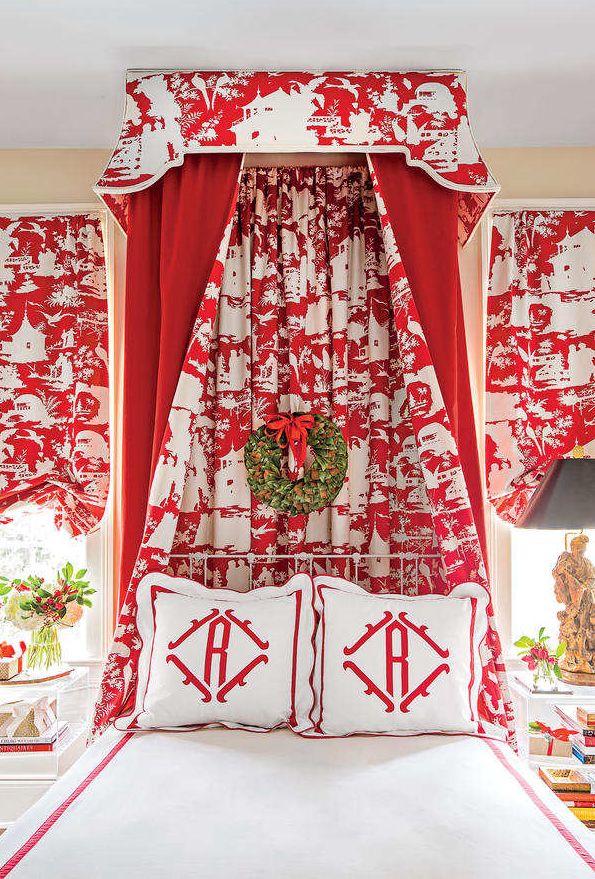 Quadrille Paradise Background Bed Canopy
