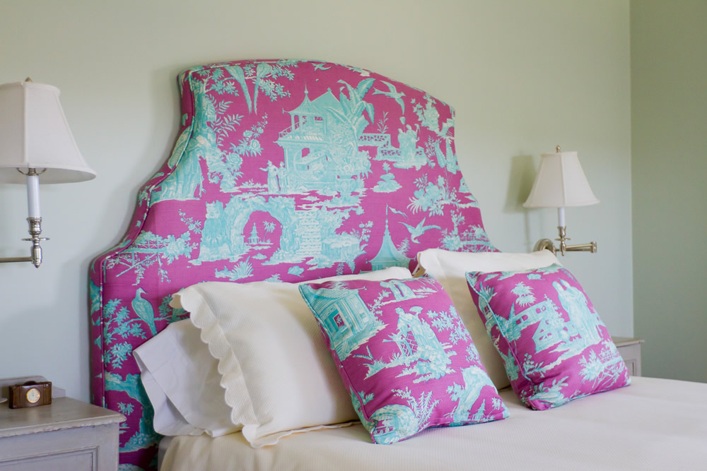 Quadrille Paradise Garden headboard and pillows by SLC Interiors