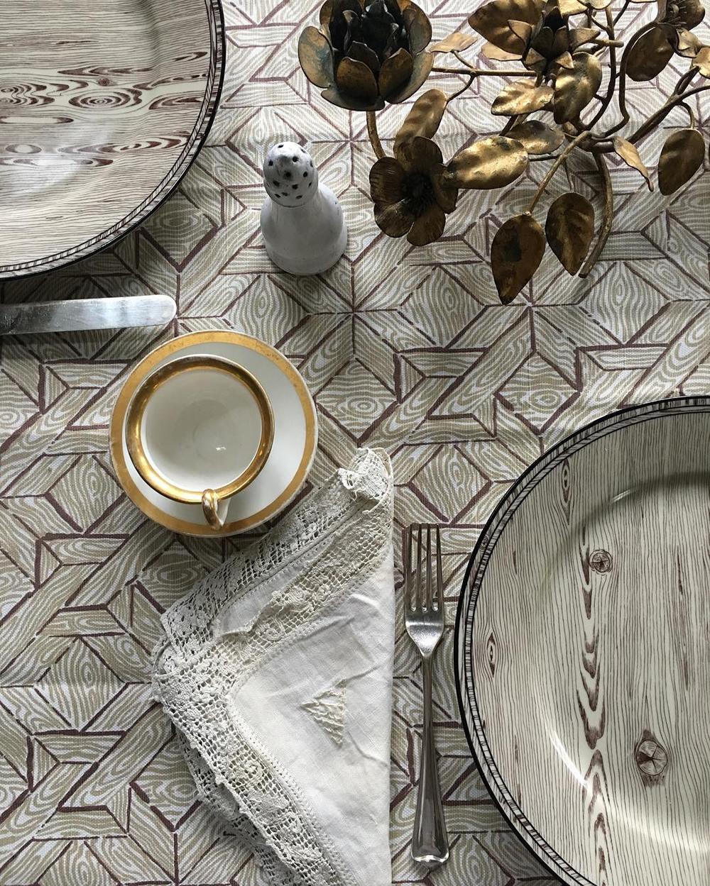 Mieke Ten Have: China Seas Parquetry Table Cloth By Mieke Ten Have