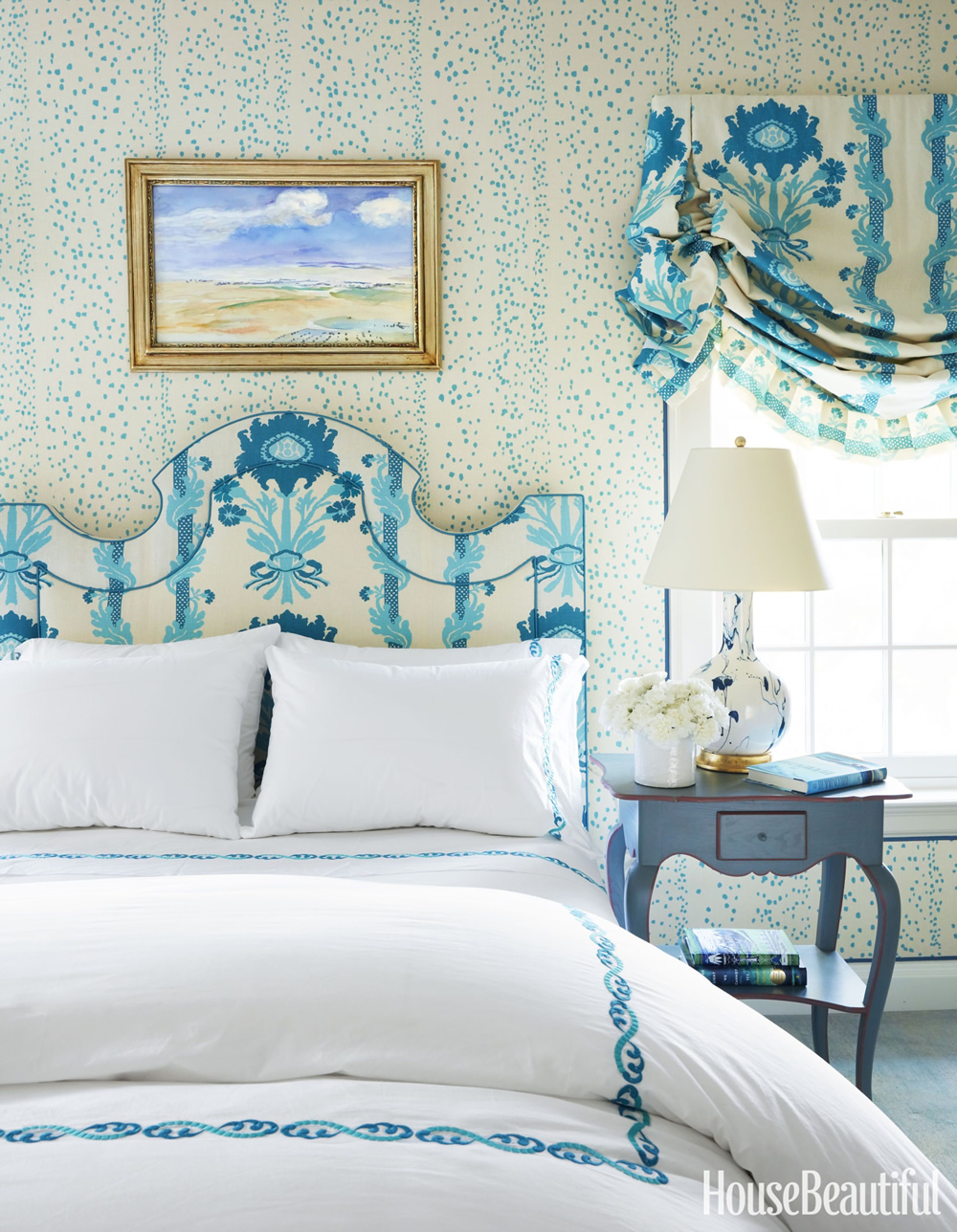 China Seas Rio wallpaper and Quadrille Henriot Floral headboard and window shade in House Beautiful