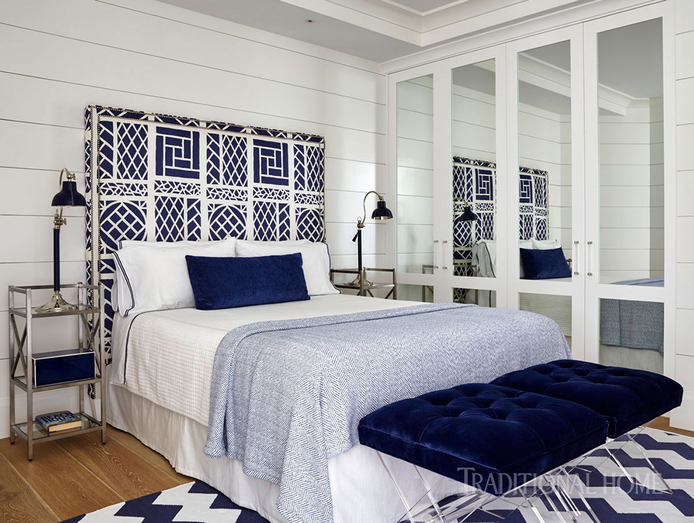 China Seas Trellis Background headboard in Traditional Home