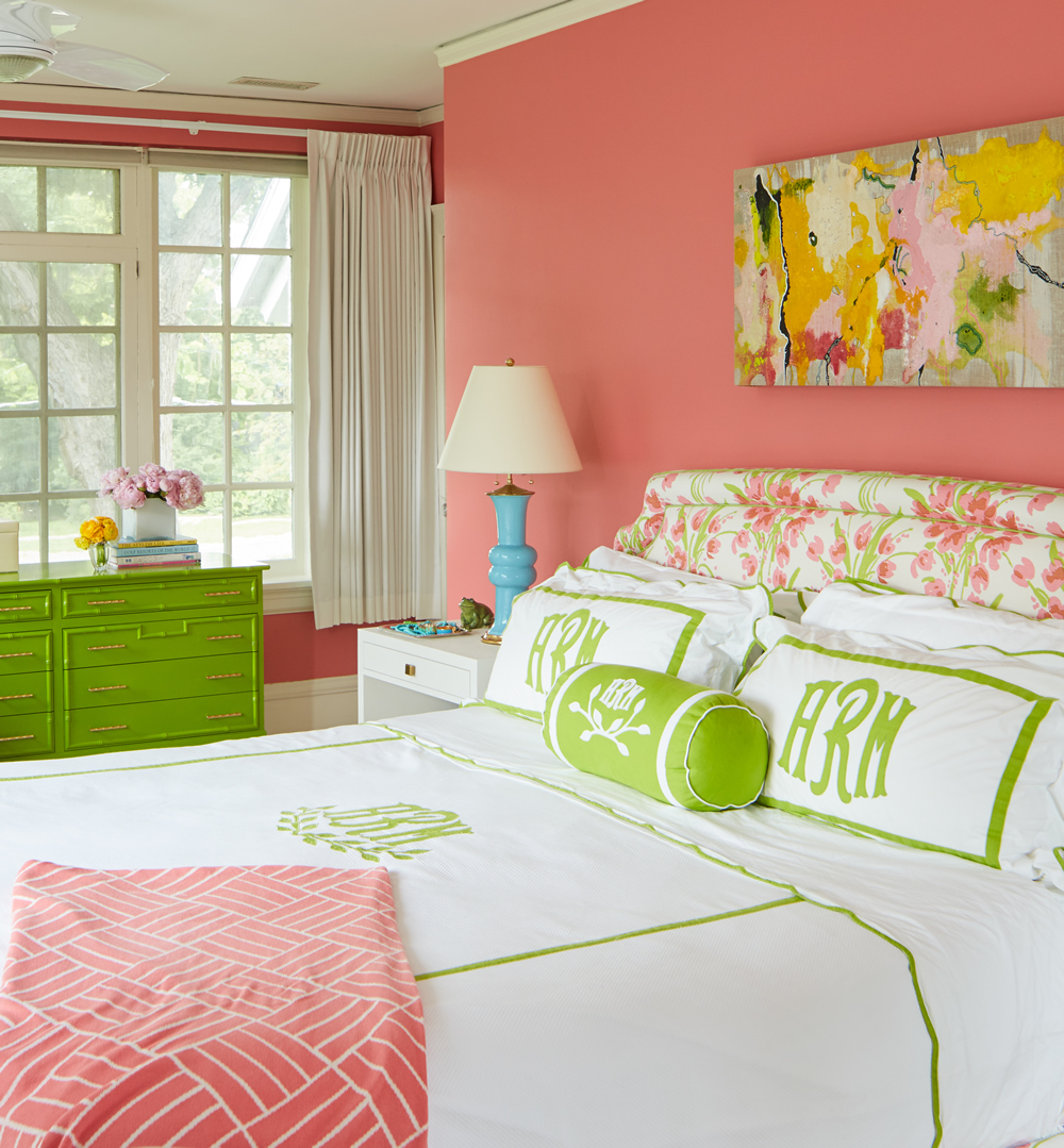 Quadrille Tulip Multicolor headboard by Amanda Reynal