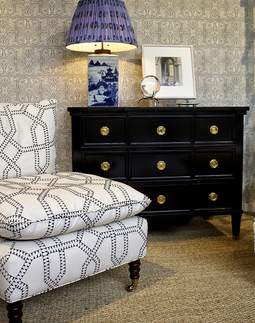 Quadrille Zebra Embroider Chair With Cloth And Paper Persia Wallpaper
