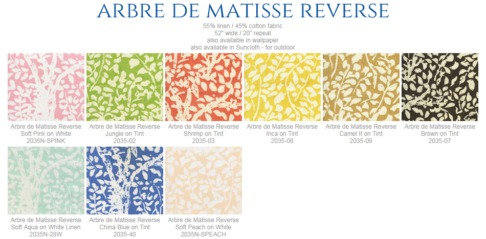 China Seas Arbre de Matisse fabric group