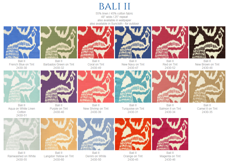 China Seas Bali II fabric group