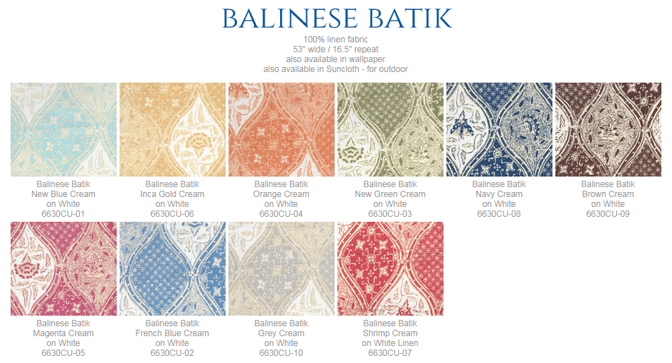 China Seas Balinese Batik fabric group