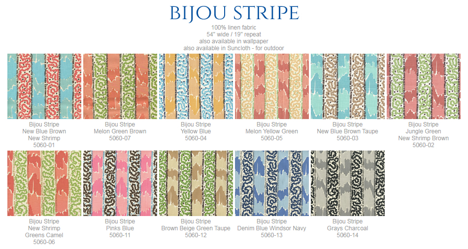 China Seas Bijou Stripe fabric group