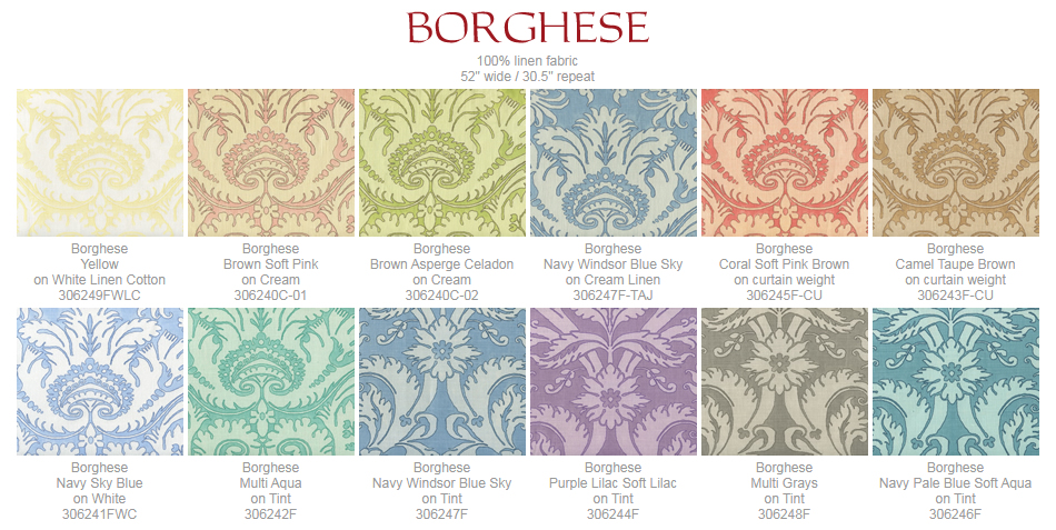 Quadrille Borghese fabric group