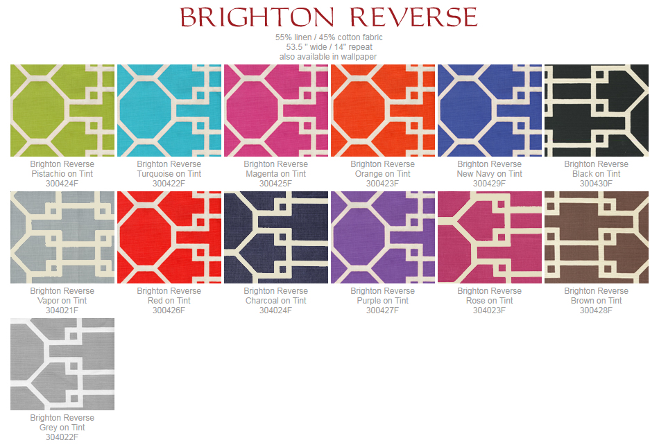 Quadrille Brighton Reverse fabric group