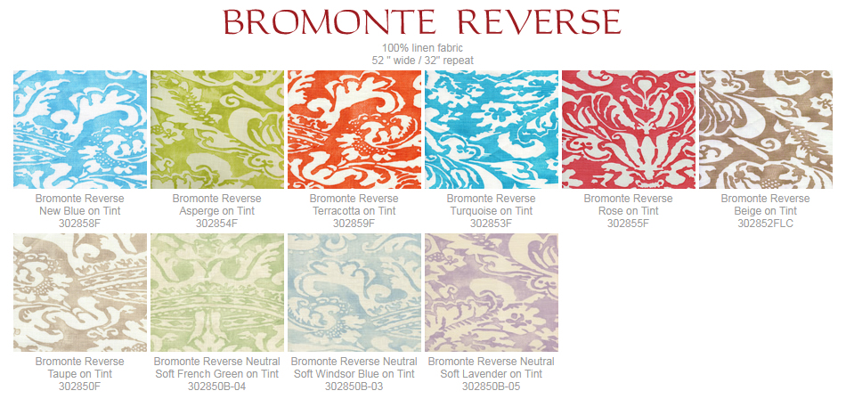 Quadrille Bromonte Reverse fabric group