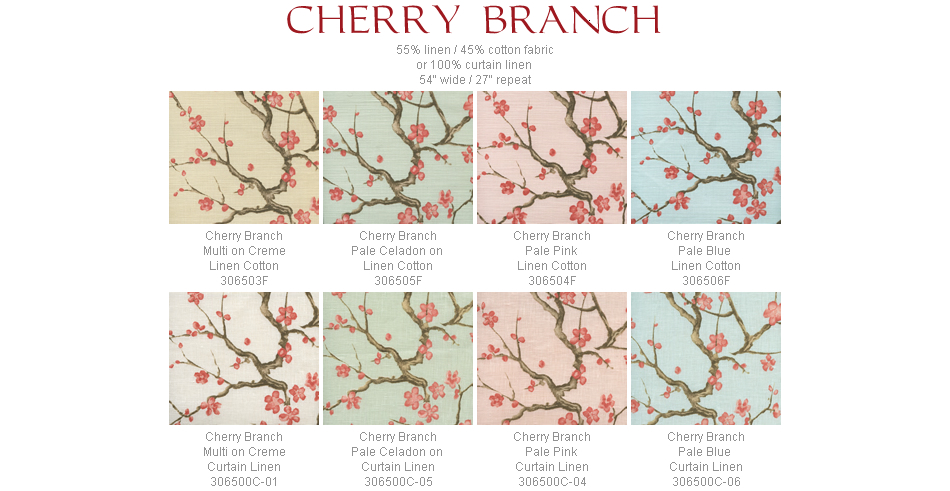 Quadrille Cherry Branch fabric group