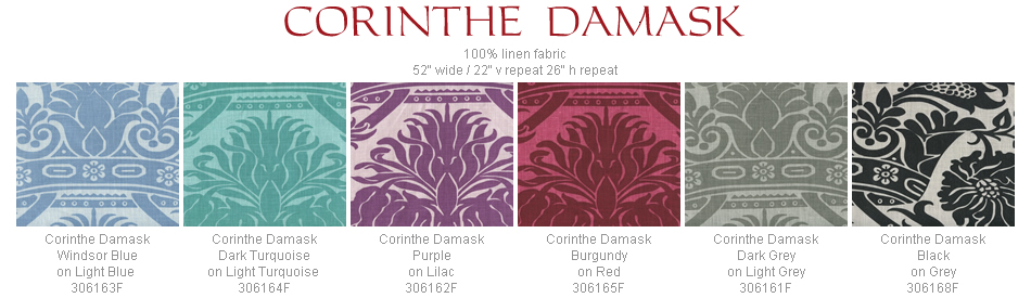 Quadrille Corinth Damask fabric group