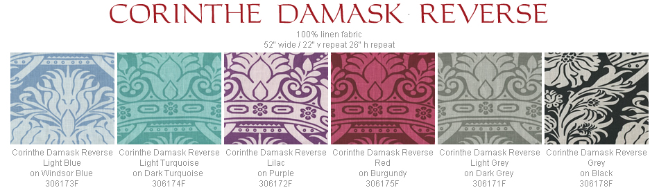 Quadrille Corinth Damask Reverse fabric group