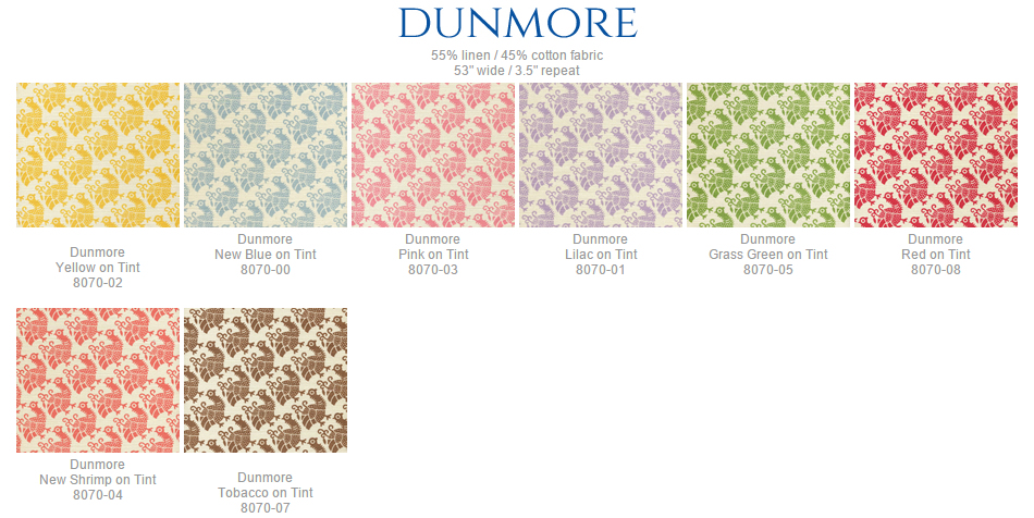 China Seas Dunmore fabric group