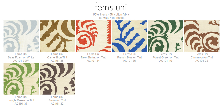 Alan Campbell Ferns Uni fabric group