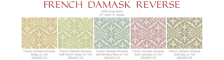 Quadrille French Damask Reverse fabric group