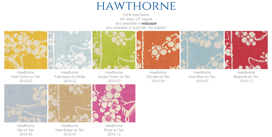China Seas Hawthorne fabric group