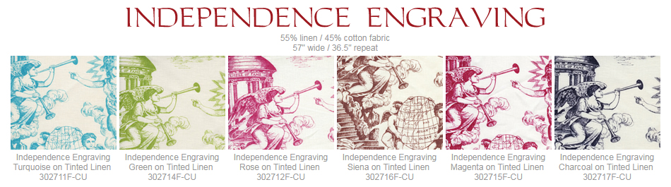Quadrille Independence Engraving fabric group