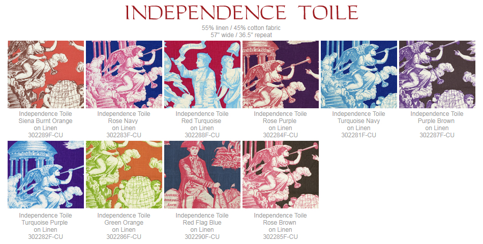 Quadrille Independence Toile fabric group