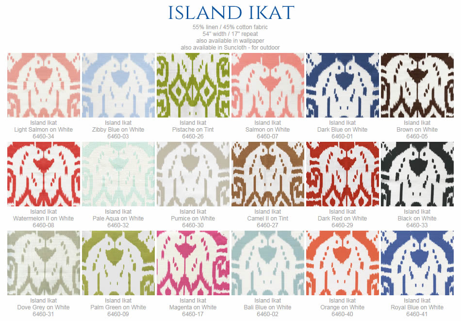 China Seas Island Ikat fabric group