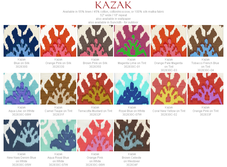 Quadrille Kazak fabric group
