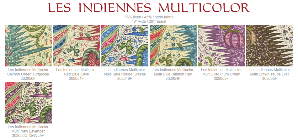 Quadrille Les Indiennes Multicolor fabric group