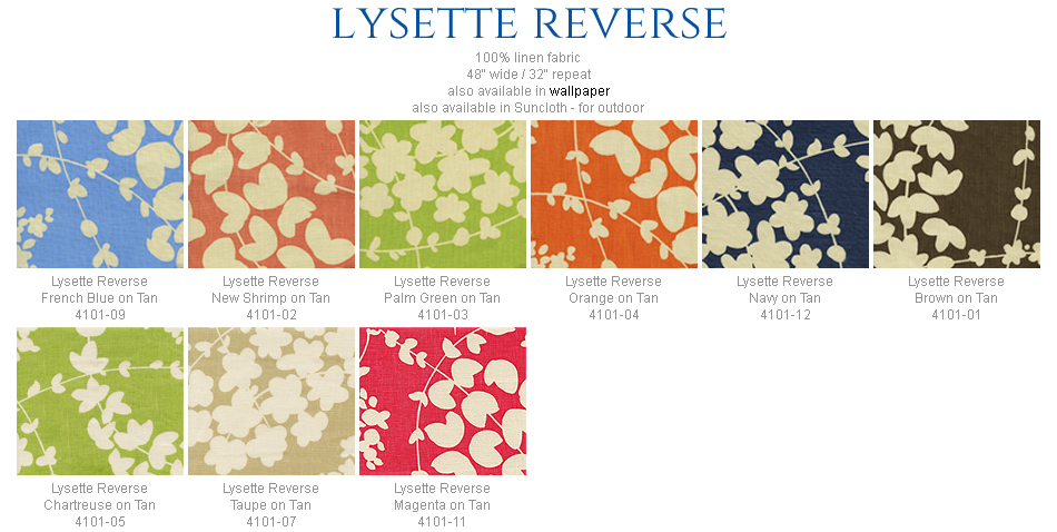 China Seas Lysette Reverse fabric group