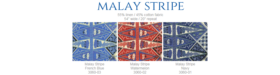 China Seas Malay Stripe fabric group