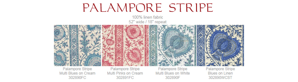 Quadrille Palampore Stripe fabric group