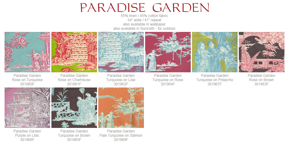 Quadrille Paradise Garden fabric group