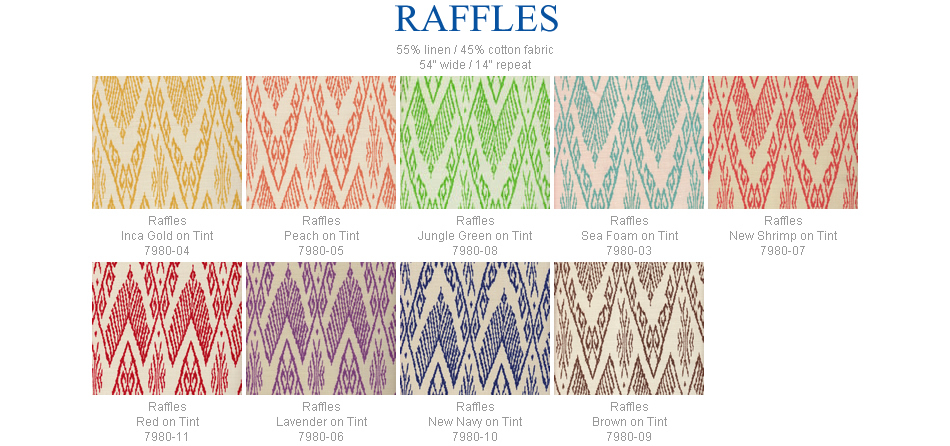 China Seas Raffles fabric group