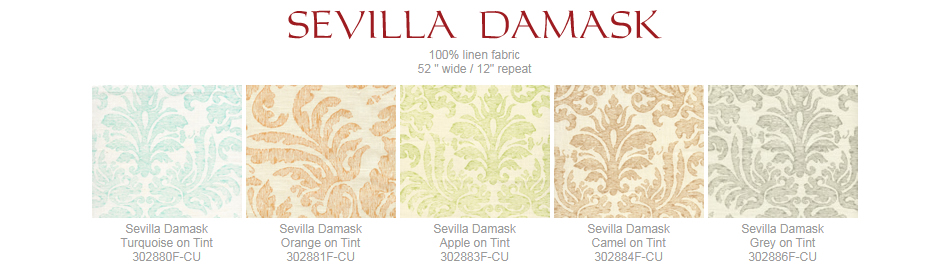 Quadrille Sevilla Damask fabric group