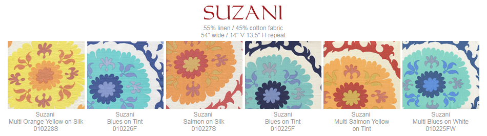 Quadrille Suzani fabric group