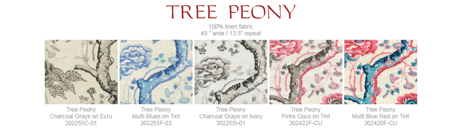 Quadrille Tree Peony fabric group
