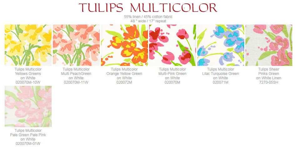 Quadrille Tulip Multicolor fabric group